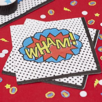 """WHAM"" Comic Book Superhero Napkins - pack of 20"